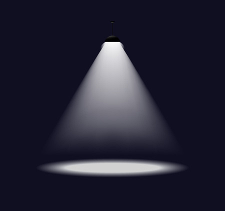illustration of simple single spot light on dark background.