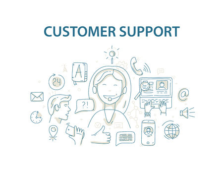 clients: Doodle style illustration concept for customer support service.