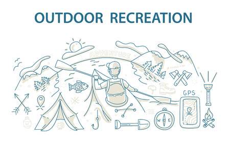 eco tourism: Doodle style design concept of outdoor recreation and travel. Vector illustration Illustration
