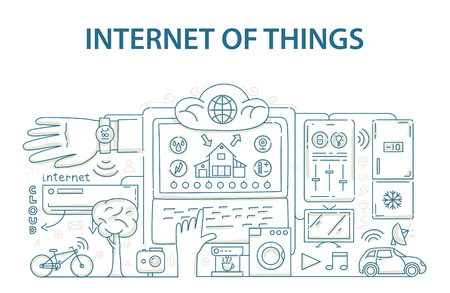things: Doodle style design concept of internet of things data technology, network infrastructure of connecting everything. Vector illustration Illustration