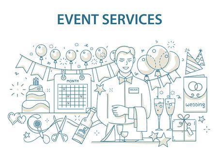 Doodle concetto di design stile di evento speciale e l'organizzazione della festa di compleanno felice, ristorazione agenzia di servizi. Vettoriali