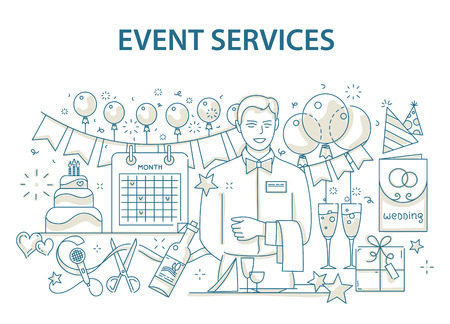 Event: Doodle style design concept of special event and happy birthday party organization, catering service agency.