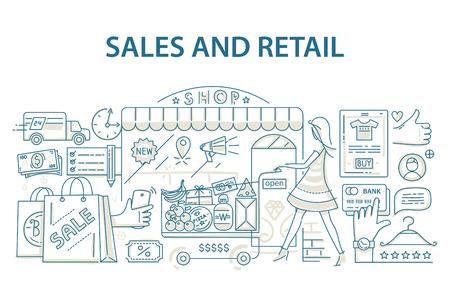 Gekritzelart-Konzept des Entwurfes des Einzelhandelsgeschäfts und des Einkaufens.