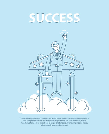 jetpack: Businessman flying on the jetpack to success. Line style vector infographic illustration.