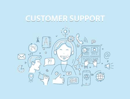 Concepto de ilustración de vector de estilo de línea para servicio de atención al cliente. Ilustración de vector