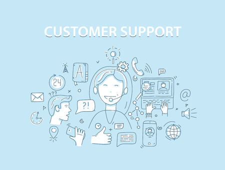 customer support: Line style vector illustration concept for customer support service.
