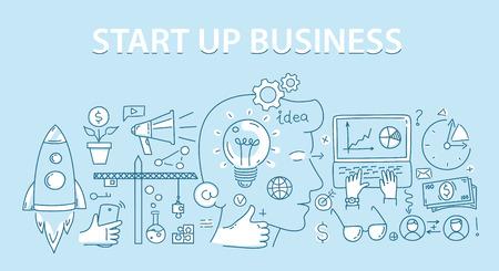 Line style design concept of start up business. Vector illustration