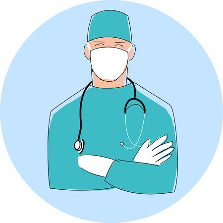 cirujano: Doctor en la máscara. Cirujano de sexo masculino. Diseño de la ilustración de estilo plano con el esquema negro fino