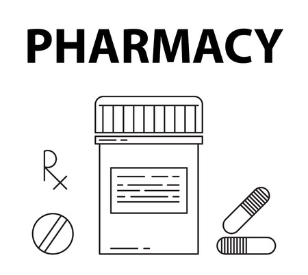 pharmacy pills: Pharmacy simple style concept. Pills box, prescription rx sign, pills and capsule icons Illustration