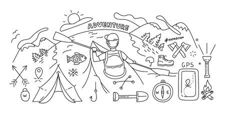 river rock: Line style design concept of outdoor recreation and travel. Black and white
