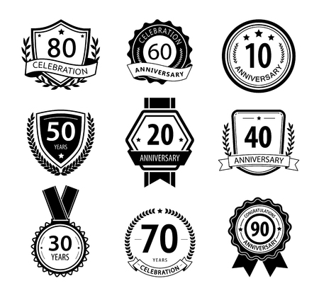 age 60: Anniversary sign collection, retro design, black and white