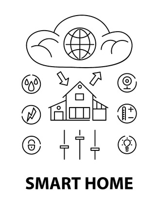 detectors: Line style design concept of smart house, network infrastructure of connecting everything.