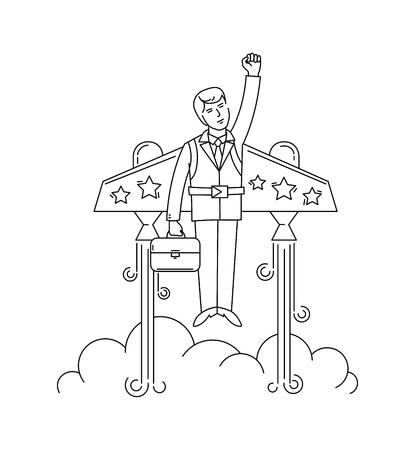 jetpack: Businessman flying on the jetpack to success. Line style vector illustration