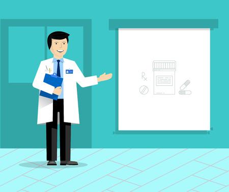 Doctor con la bandera o pantalla de proyección que da la presentación médica. Médico de presentación