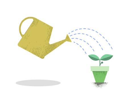 plant in pot: Watering can and plant in the pot. Growing idea concept. Earth day. Vector illustration