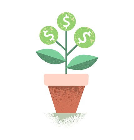 financial growth: Dollar plant in the pot. Financial growth concept. Vector illustration Illustration