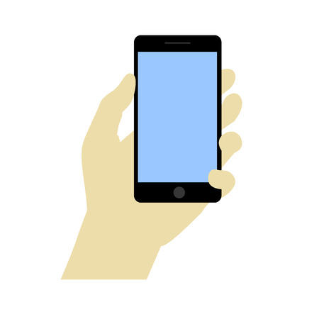 smartphone hand: Hand holdng black smartphone, touching blank screen Illustration