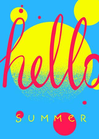 Hello summer. Typographic summer design card templates. Hand drawn poster.