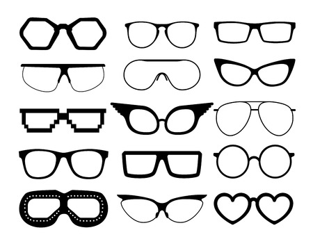 Set of vector glasses on white background, including aviation and pixel style goggles Vector Illustration