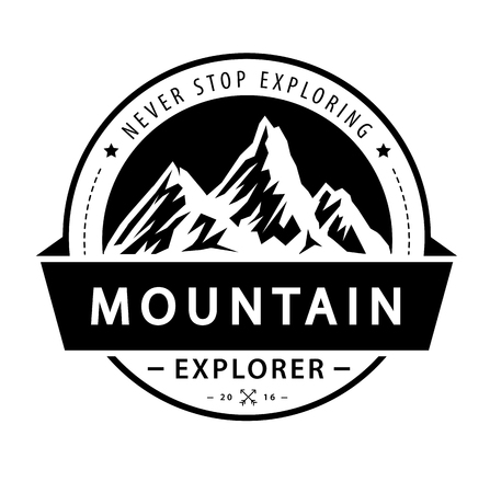 Mountain icon emblem. Adventure retro vector illustration