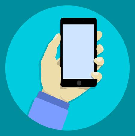 smartphone hand: Hand holdng black smartphone, touching blank screen.