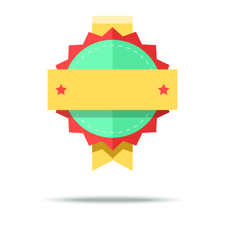 badge vector: Flat style badge icon. Vector badge, simple style design. Illustration
