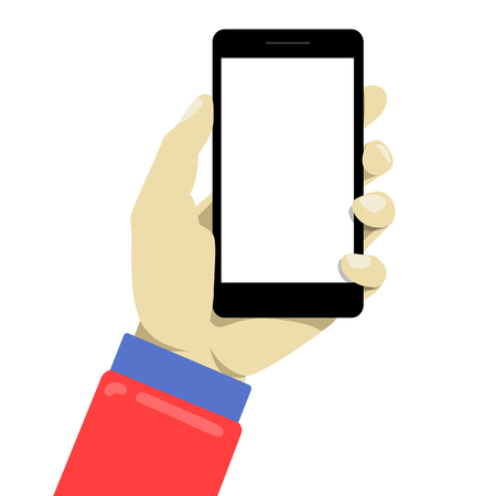 human touch: Hand holdng black smartphone, touching blank screen. Simple style modern illustration