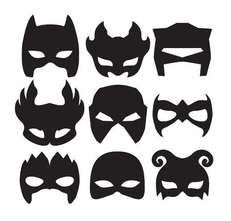 máscaras de superhéroes de carácter cara en negro. máscara de la silueta en blanco.