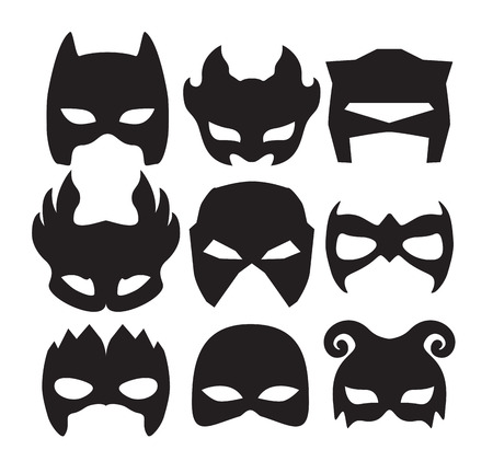 costume cartoon: Super hero masks for face character in black. Silhouette mask on white.