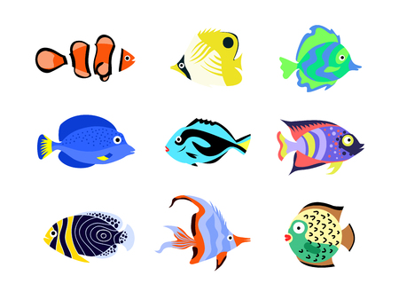 Tropical fish vector illustration icons set. Fish flat style vector illustration Ilustracja