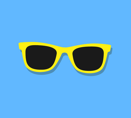 gafas de sol: Gafas de sol del vector del icono. Gafas de sol amarillas sobre fondo azul.
