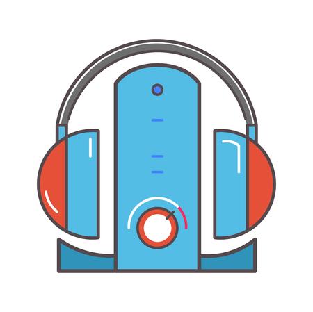 dock: Wireless headphones  with dock station flat icon.