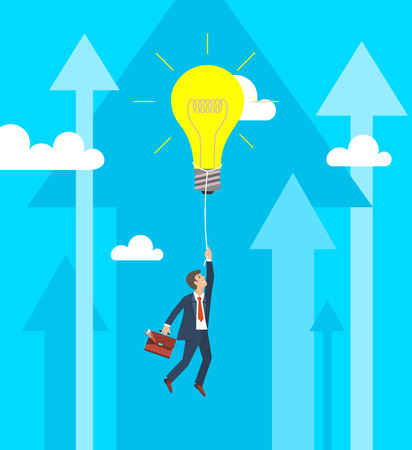 cliff edge: Business Growth Concept. Businessman flying on big light bulb. Vector illustration.