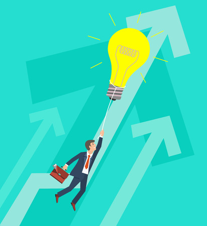 brief: Business Growth Concept. Businessman flying on big light bulb. Vector illustration.
