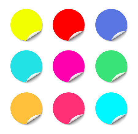 Color round stickers with curled edge vector template isolated on white background Illustration