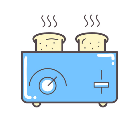 white bread: Toaster and bread vector illustration on white.
