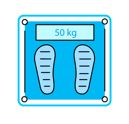 white bathroom: Electronic Bathroom Scale icon on white , Vector illustration