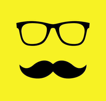 sunglasses: Mustache and Glasses  vector illustration. Flat style icons.