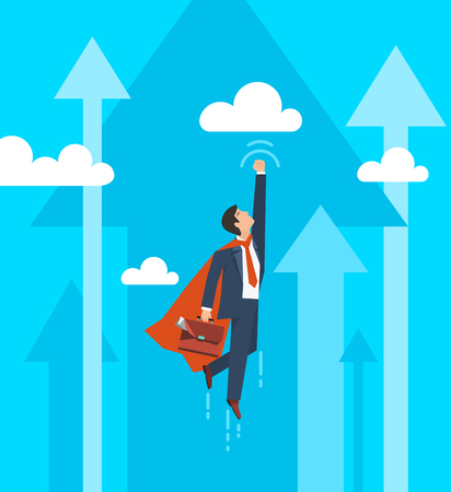 Businessman in a suit superhero flies up. Leadership and business growth concept.  Flat design. Vector illustration.