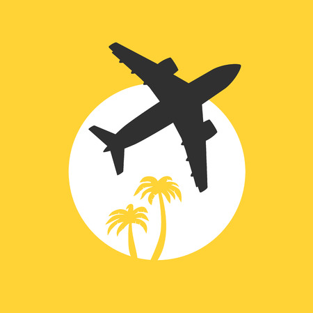 jet airplane: Vector illustration, jet airplane takeoff at dawn with palm trees. Travel and air transportation concept.