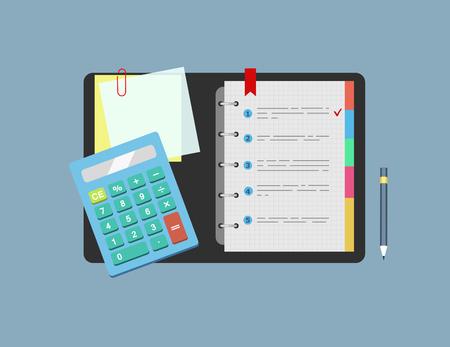 Calculadora, bloc de notas, papel de nota y la mentira lápiz sobre la mesa. Concepto de planificación y análisis. ilustración