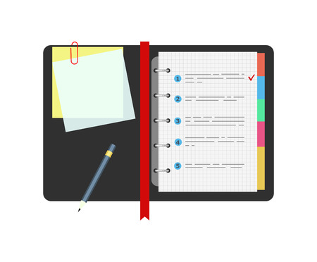 procedures: Spiral notepad notebook with to do list and pencil. Flat design.