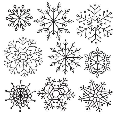 design elements: Various winter snowflakes set, design elements for christmas design.