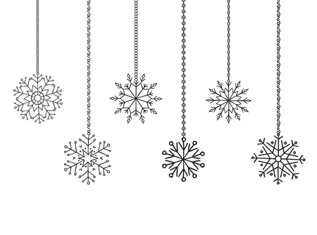 garland border: Snowflakes garland border, christmas and new year decoration for your design.
