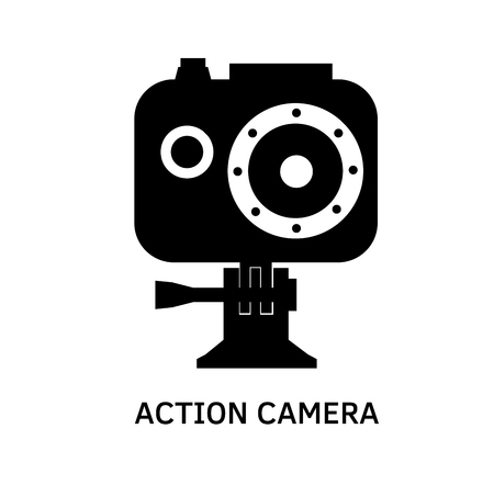 pro: Action camera icon - black vector extreme video cam symbol in waterproof case. Illustration