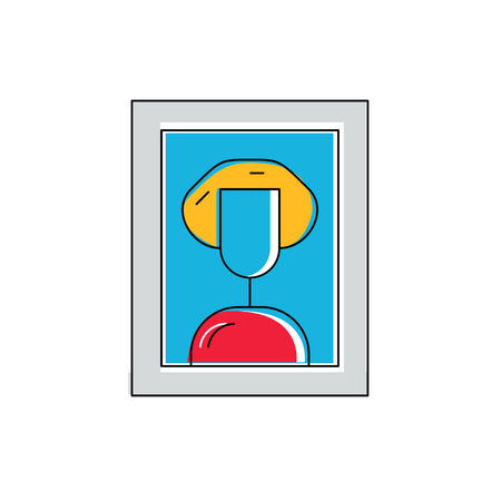 fine art: Fine art concept, painting icon, art logo, framed portrait of woman