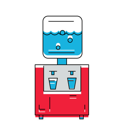 cooler: Water Cooler icon. Line style Vector Illustration . Illustration