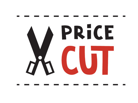 price cut: Scissors and Price cut logo. Vector illustration.