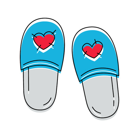 Cute slippers with hearts icon on the white background. Vector illustration.