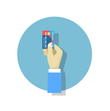 spending money: Hand holding credit card ,flat style trend modern design vector illustration. Illustration